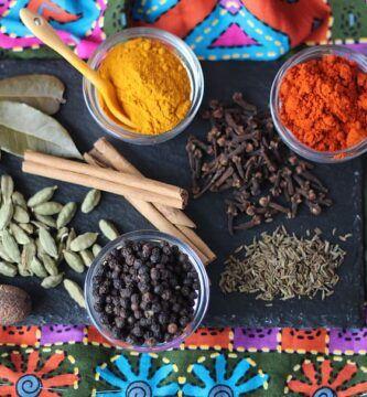 Especias y condimentos de india